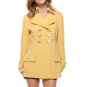 F21 Sunshine Yellow Double Breasted Peacoat Jacket